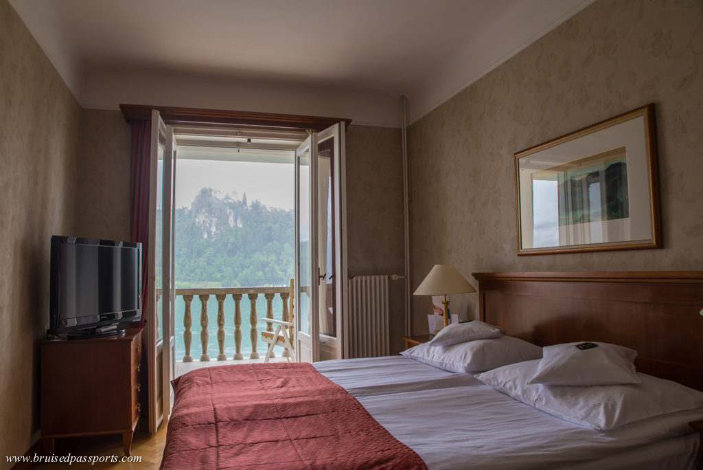 Grand Hotel Toplice bedroom overlooking Lake Bled in Slovenia