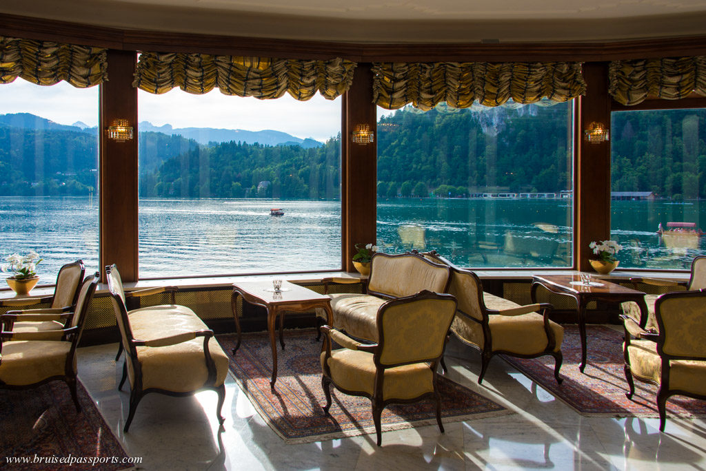 Grand Hotel Toplice lounge overlooking Lake Bled