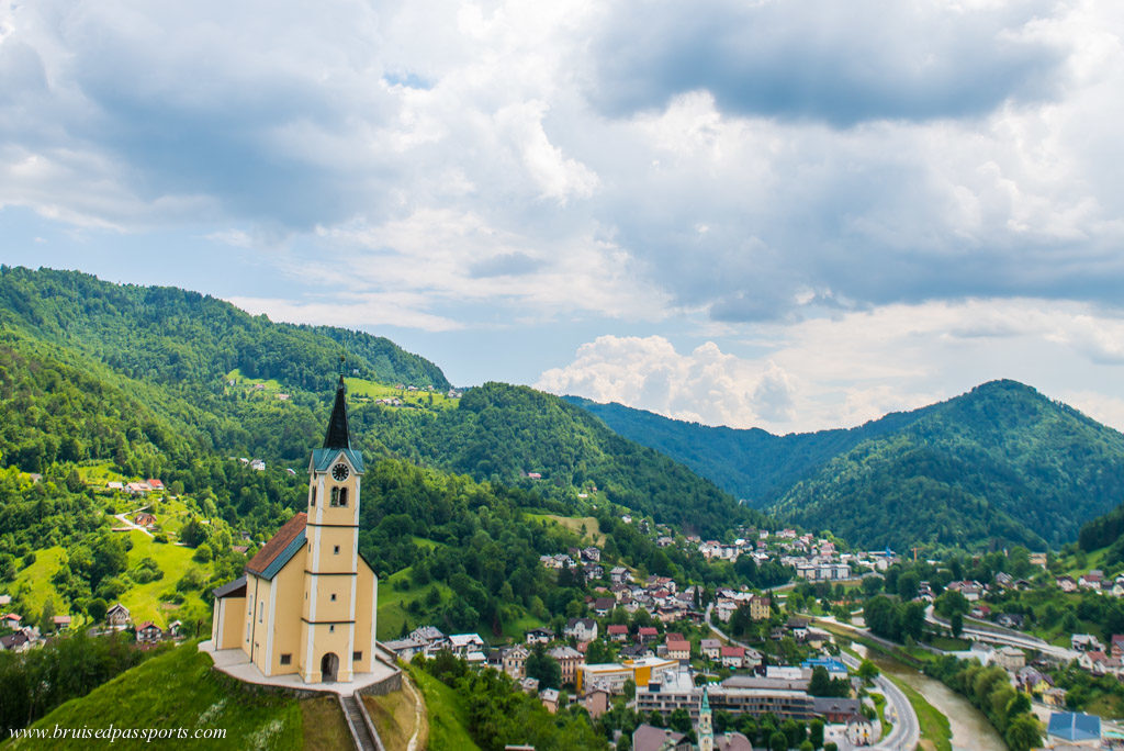 Vantage point for Idrija next to St. Anton church
