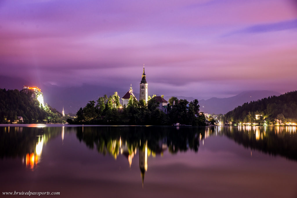 The island in Lake Bled at sunset