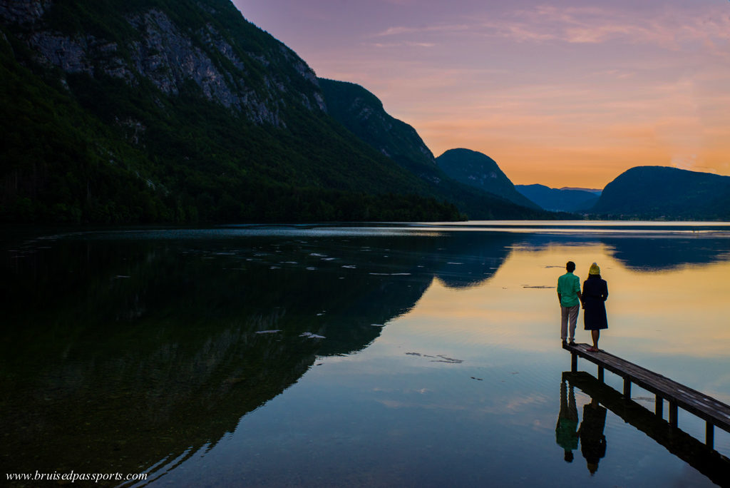 Sunset at Lake Bohinj in Slovenia