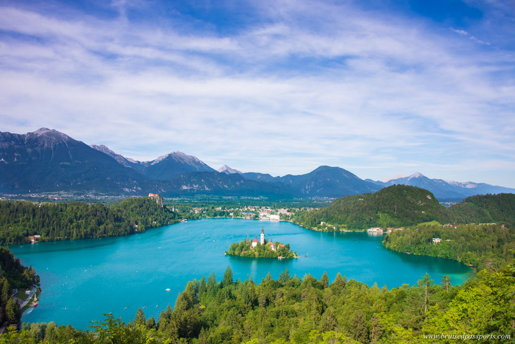 Lake bled panorama from Ojstrica hike in Slovenia