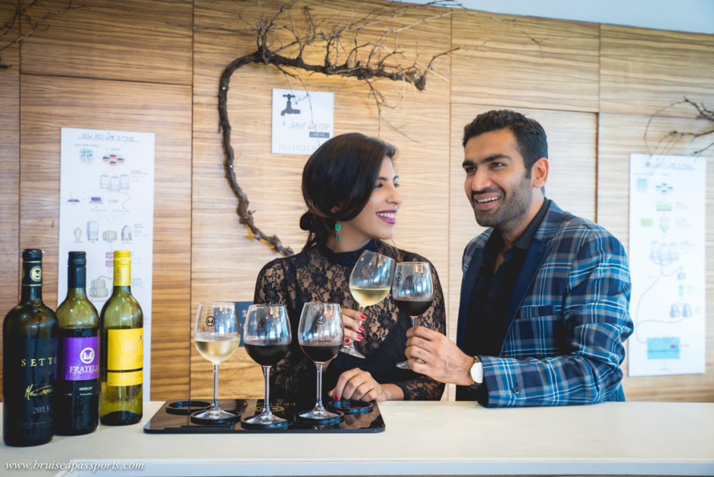 Couple at Fratelli vineyards in Akluj Maharashtra