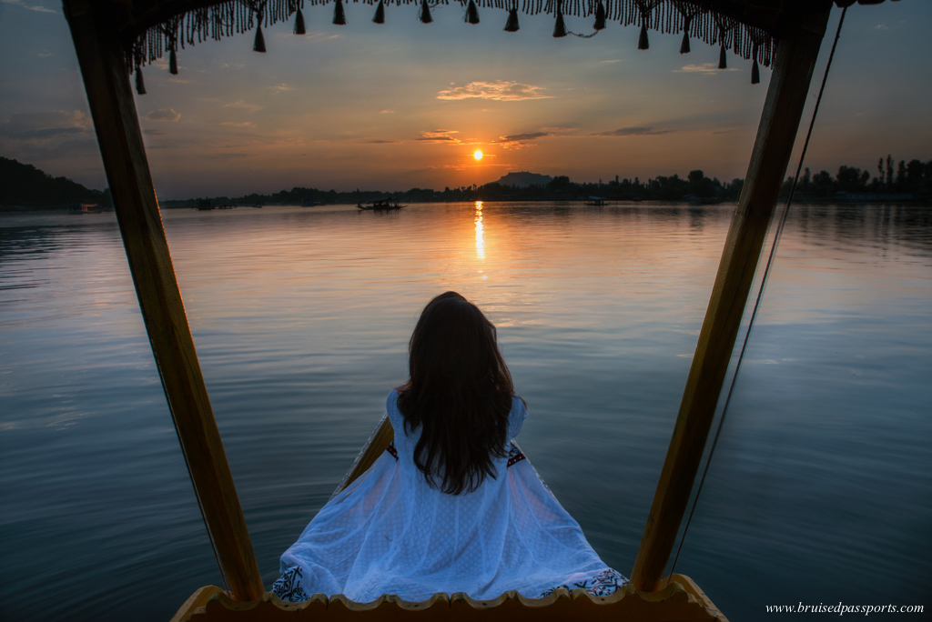 Sunset from a shikara on Dal lake in Srinagar
