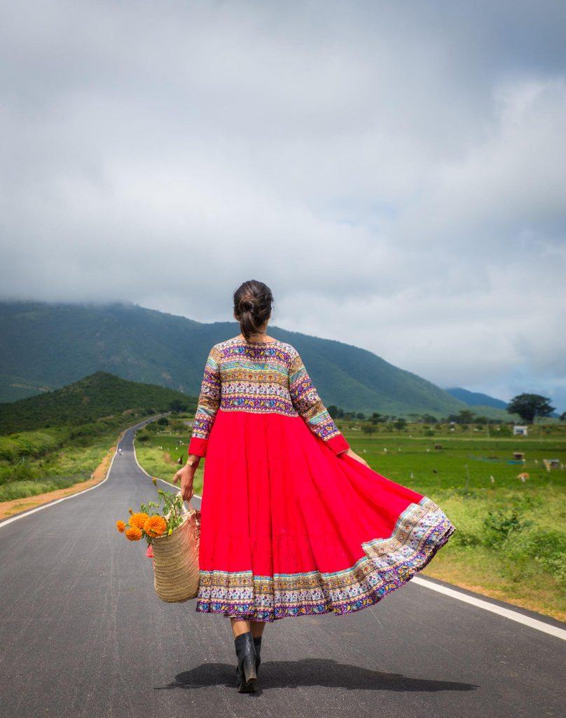 Girl at sunflower field gopalaswamy Hills Mysore Karnataka