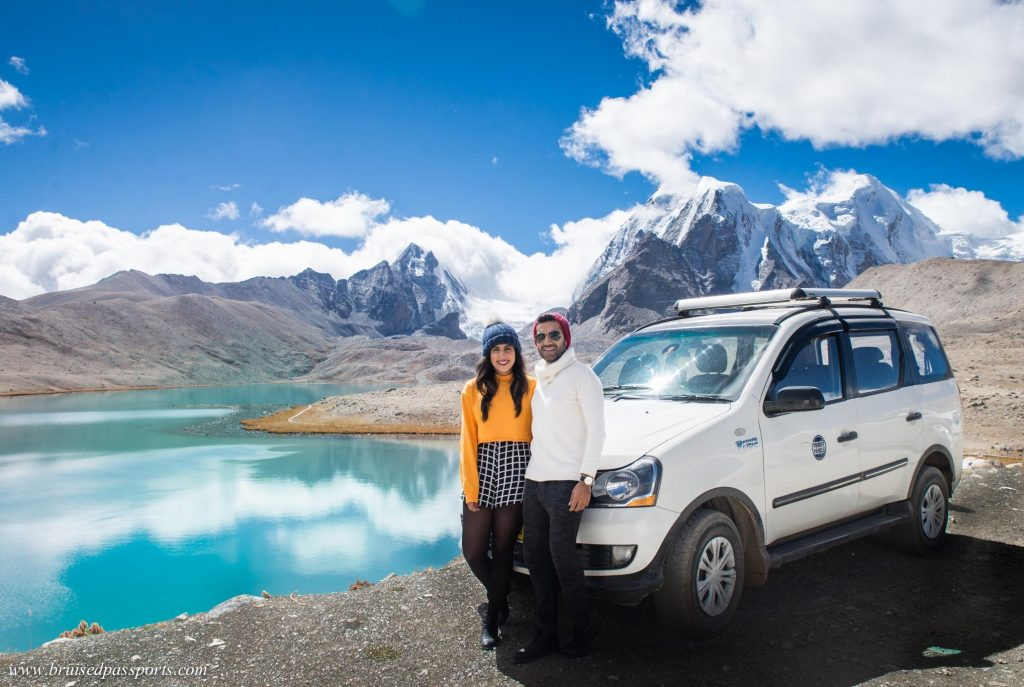 Couple at Gurudongmar lake in Sikkim