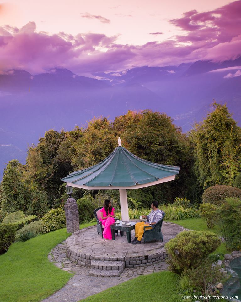Evening tea overlooking Himalayas and Kanchenjonga at Elgin Pelling Hotel