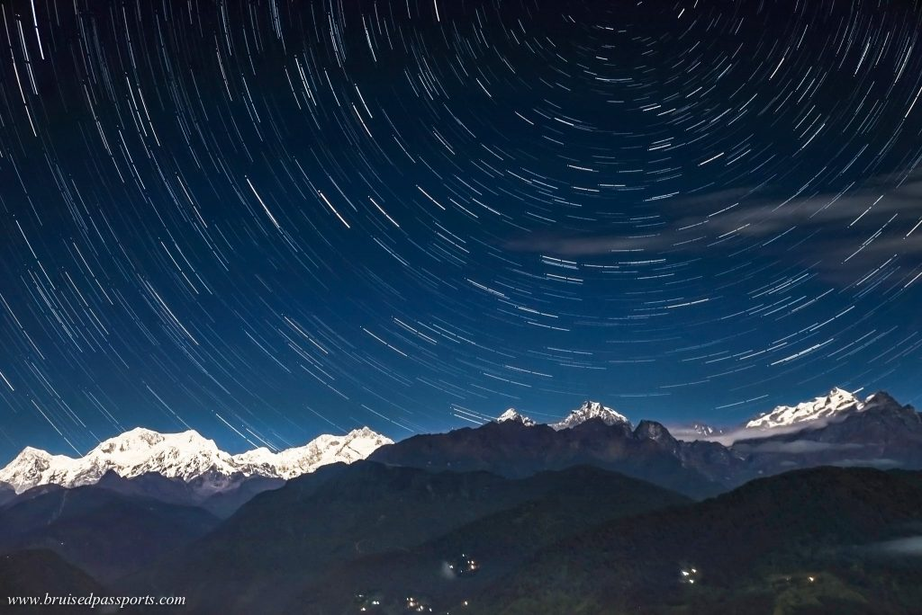 Night sky at Pelling sikkim with a view of Mt. Kanchenjunga