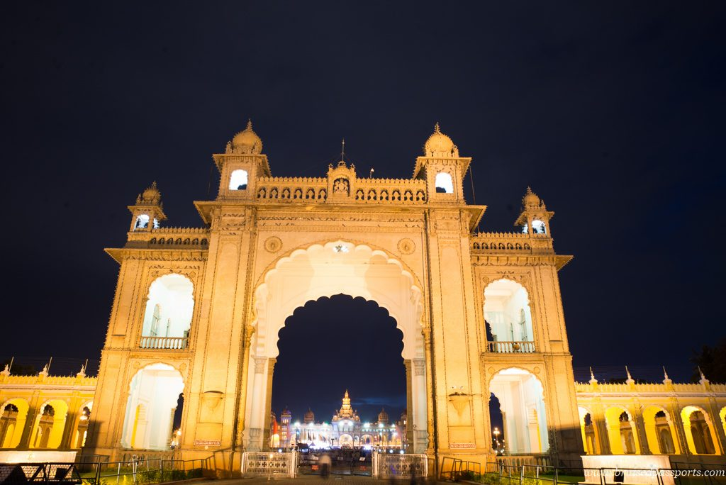 The entrance of the majestic Mysore Palace