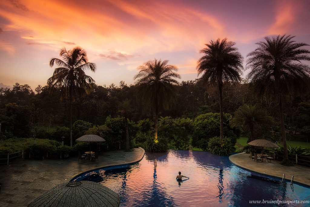 girl in pool at sunset in orange county evolve back coorg