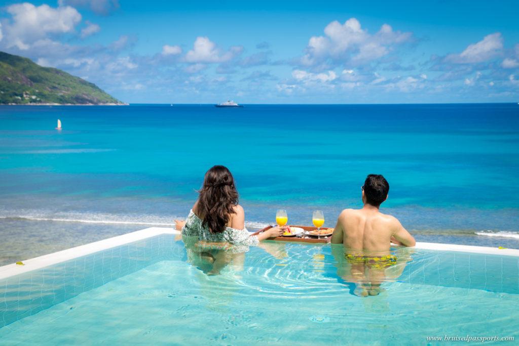 Pool villa infinity pool at Hilton Northolme Seychelles