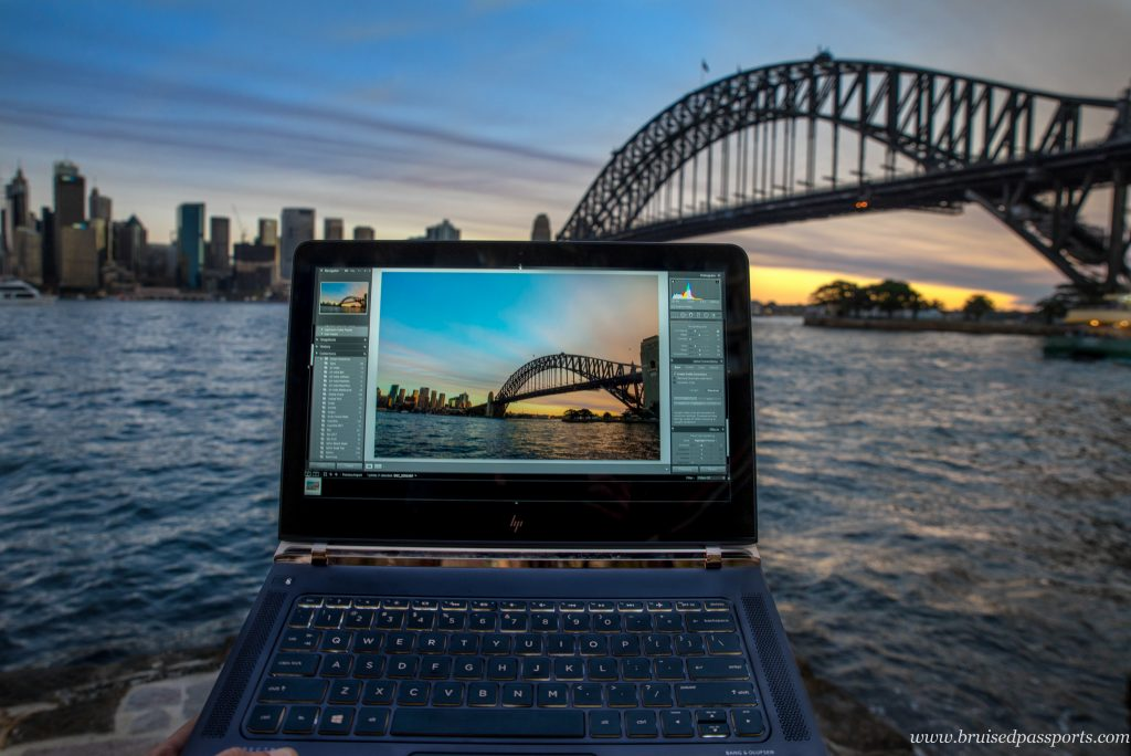 Laptop at sunset in Sydney Australia