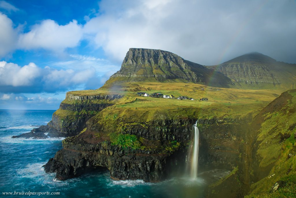 Gásadalur village with waterfall in Faroe Islands