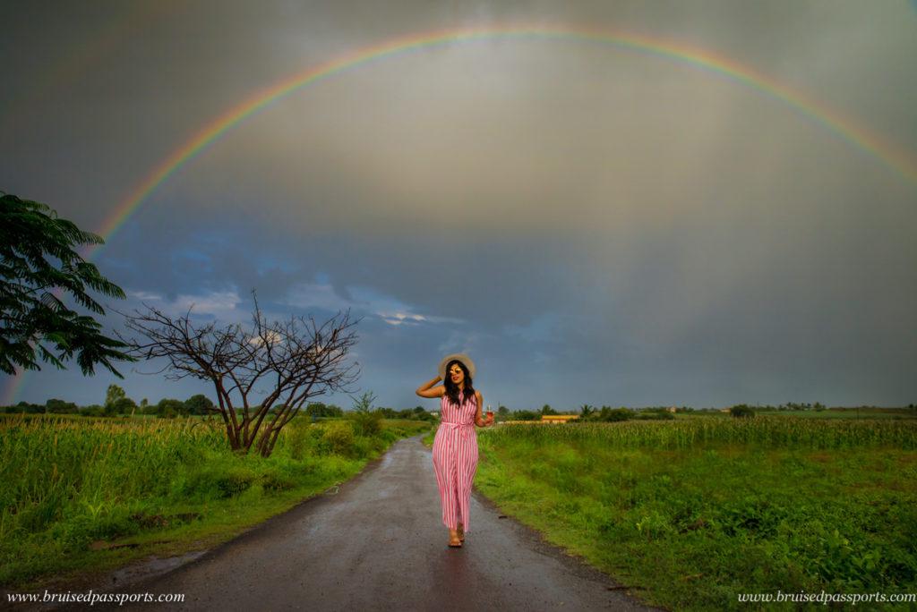 Rainbow at Fratelli vineyards in Akluj Maharashtra