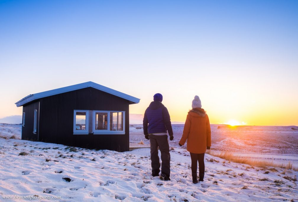 Iceland winter sunrise couple