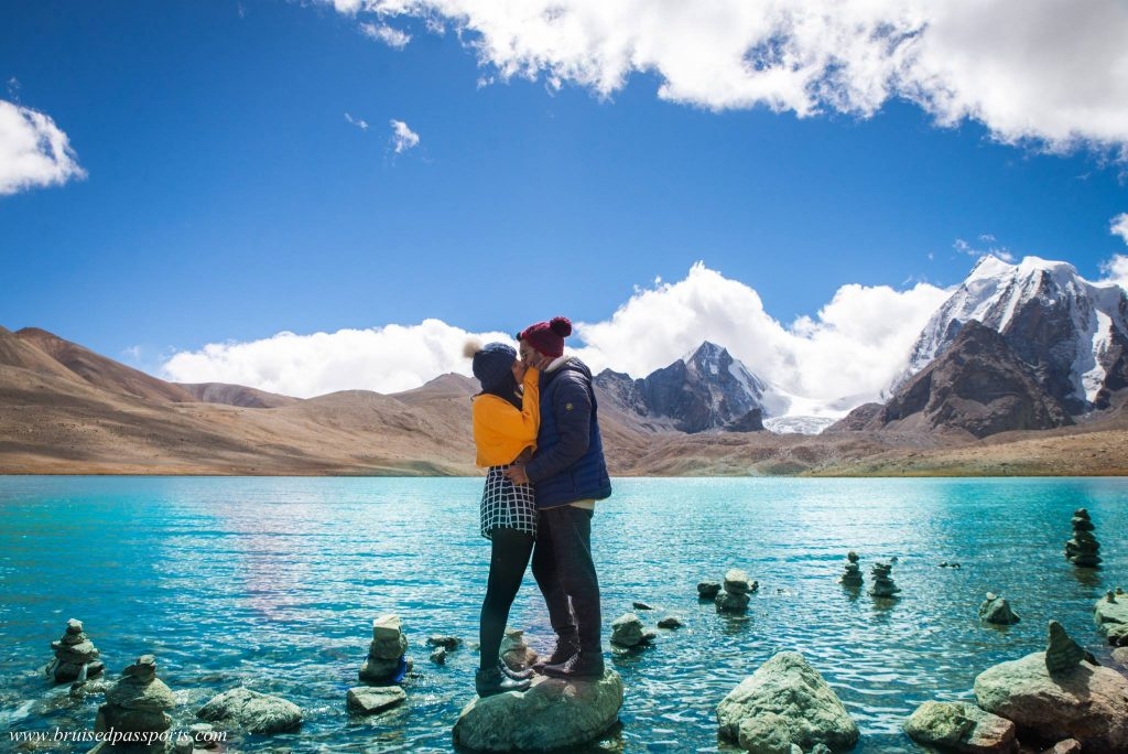 Couple at Guudongmar Lake North Sikkim