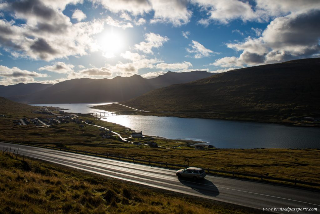 Car on a road in Faroe Islands