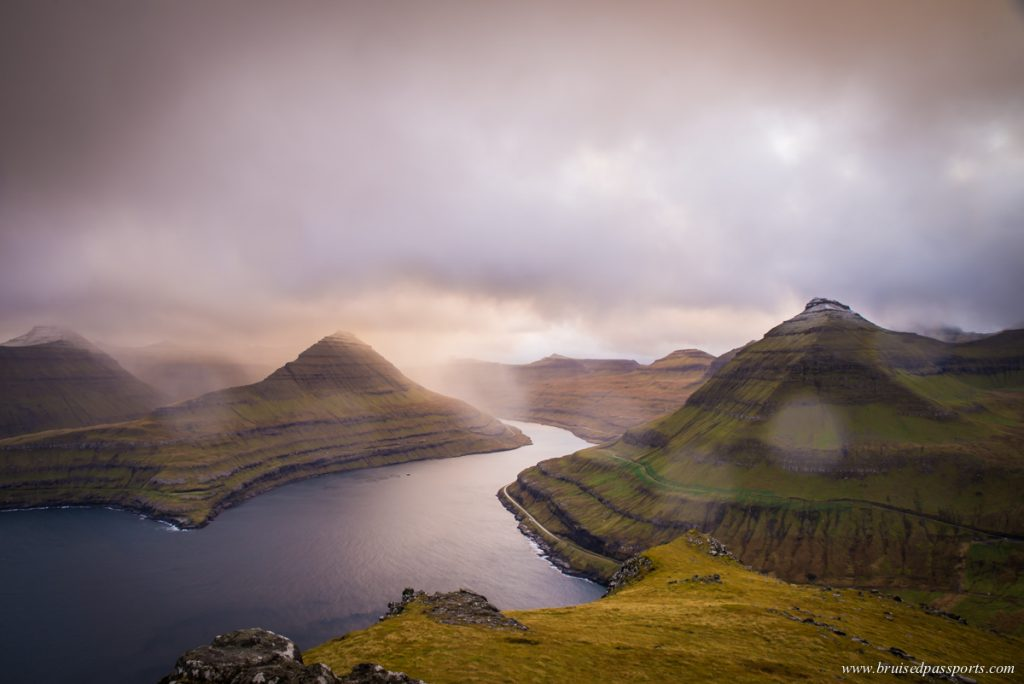 View of fjords from Funningur Hike in Faroe Islands