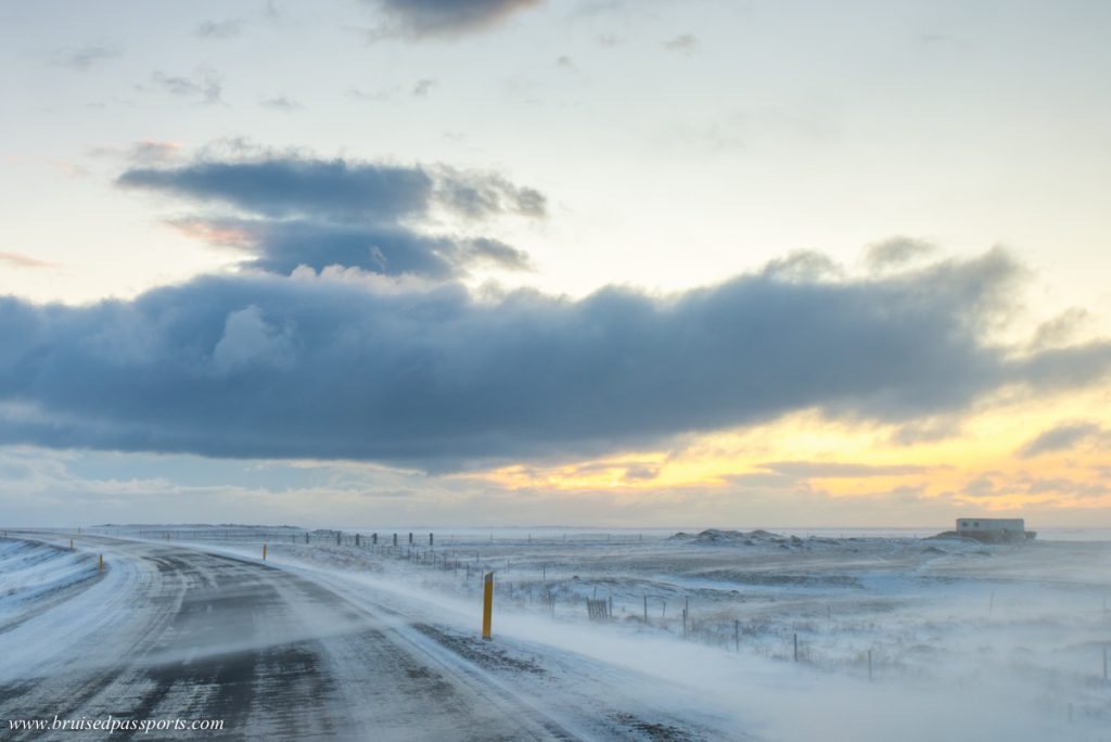 blowing snow in Iceland in winter