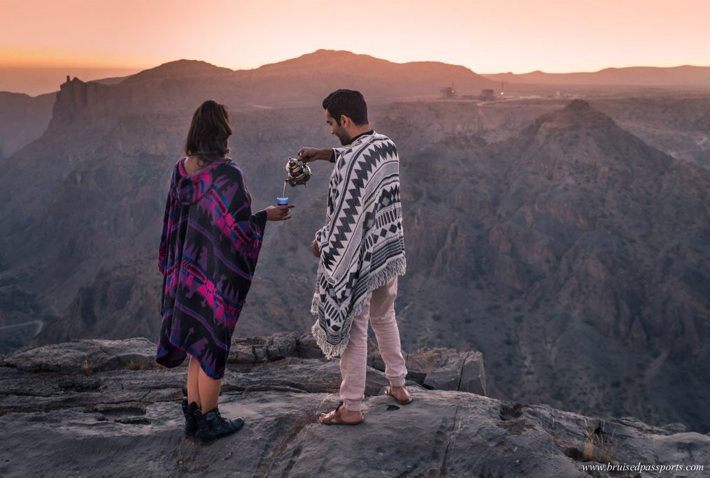 Couple in Oman jebel akhdar