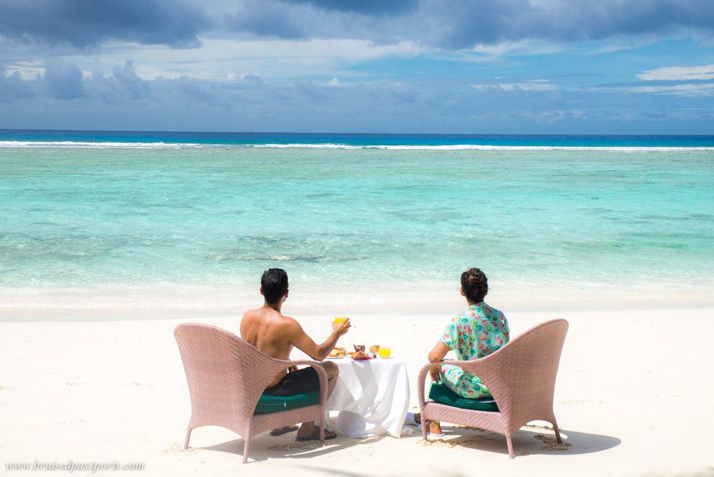 breakfast on the beach at Hilton Labriz Seychelles