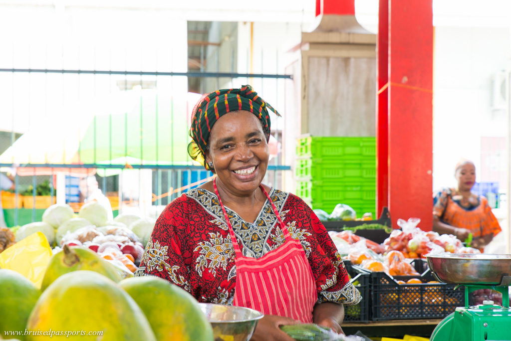 Street vendor in local market in Victoria Seychelles