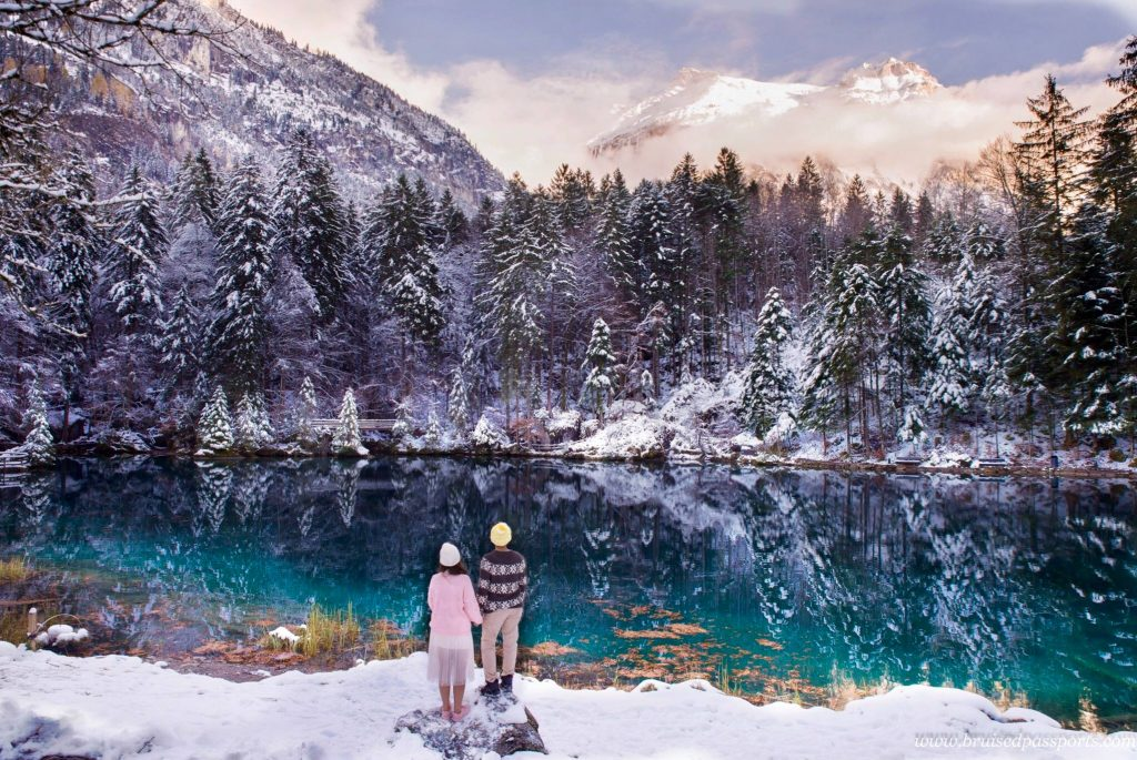 Switzerland Road Trip Blausee couple