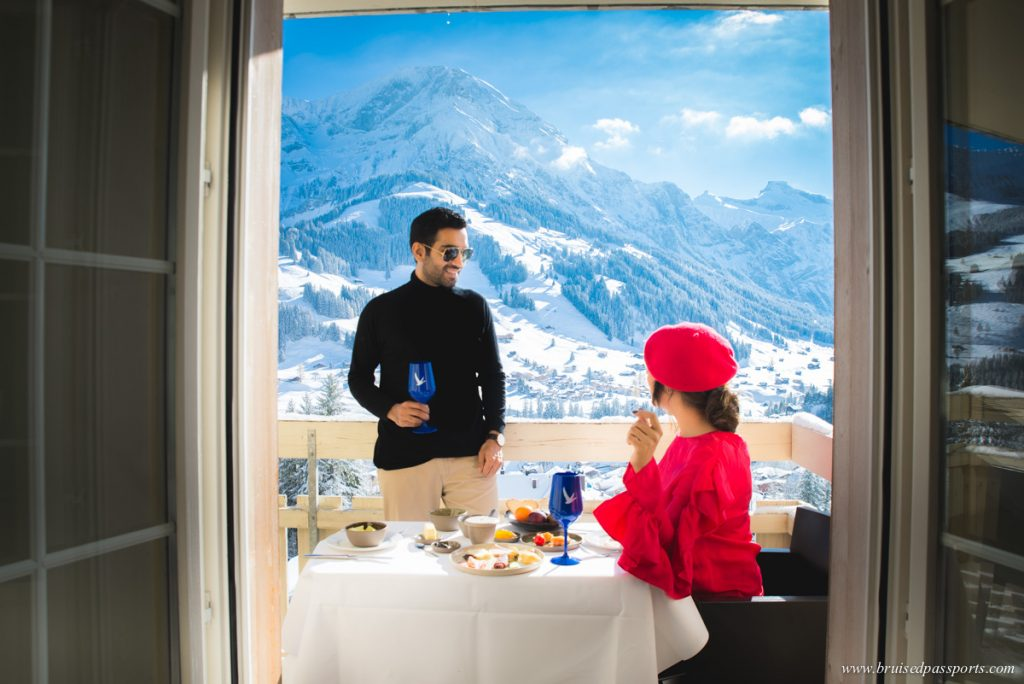 Cambrian Adelboden balcony breakfast with views of the valley
