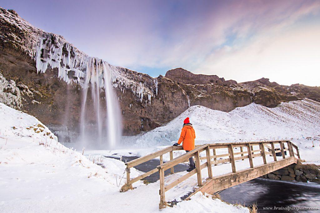 Seljalandsfoss waterfall and bridge