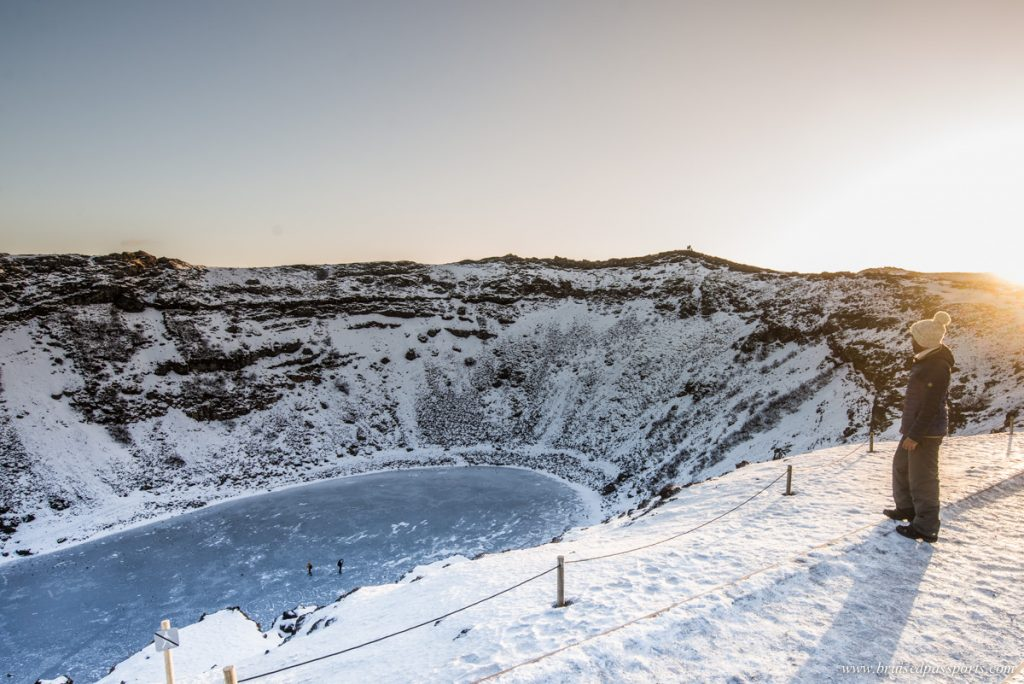 frozen lake kerid in Golden Circle of Iceland