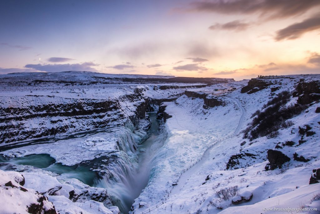 Frozen gulfoss waterfall at sunset in Iceland