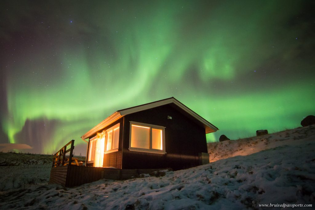 Northern lights over cottage in South Iceland