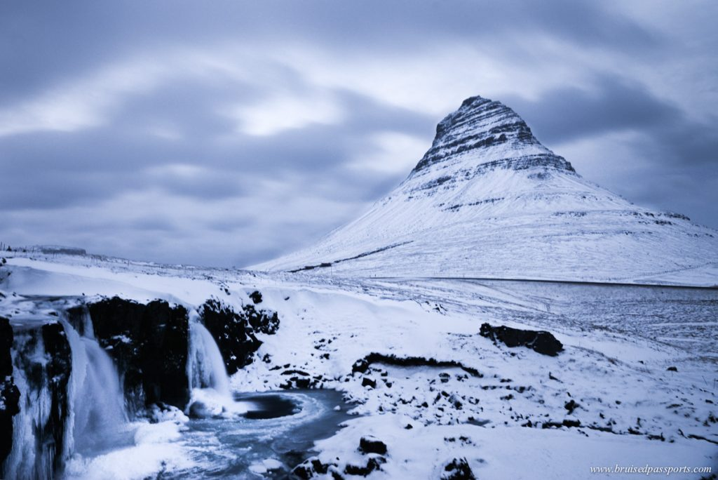 Mt. Kirkjufell covered in snow in winter