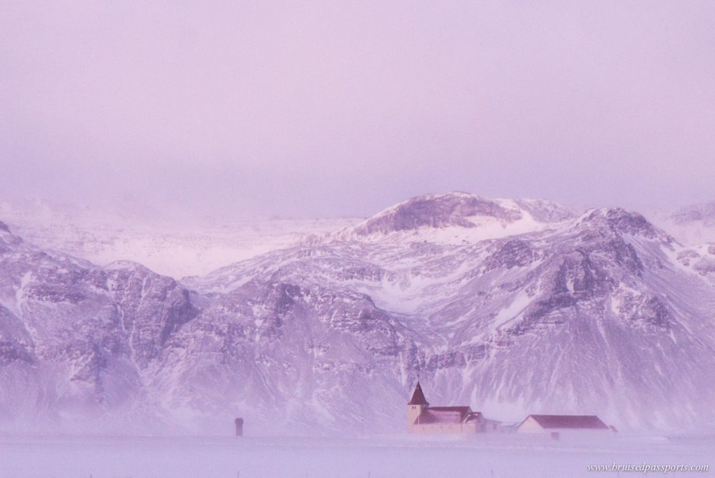 A church in extreme weather in Snaefellsness