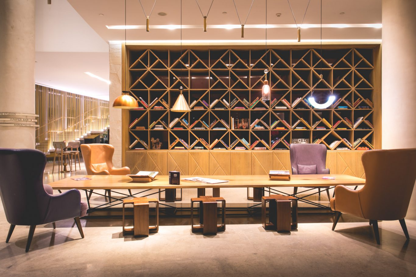 reading lounge at andaz delhi