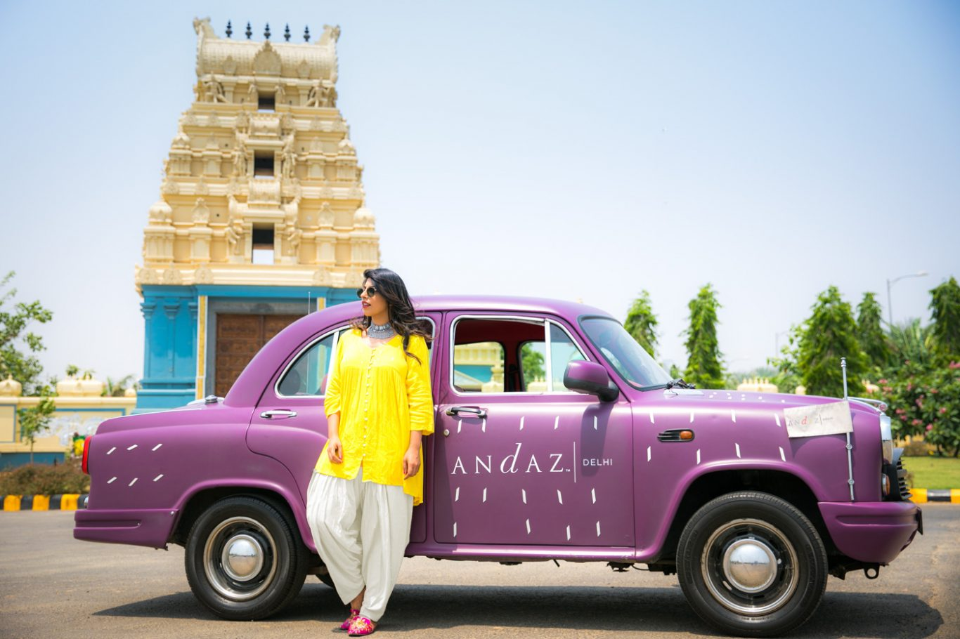 Driving around Delhi in Andaz Delhi vintage ambassador