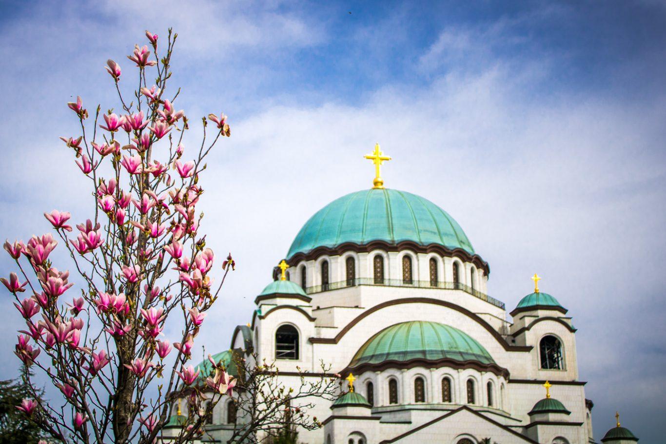 Facade of Sava Temple in Belgrade Serbia