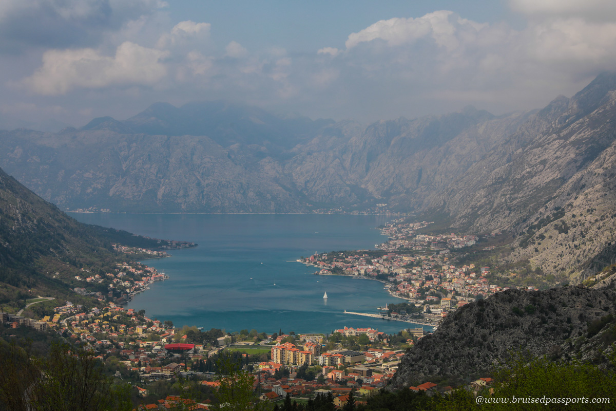 view of Kotor Bay from old road to Cetinje