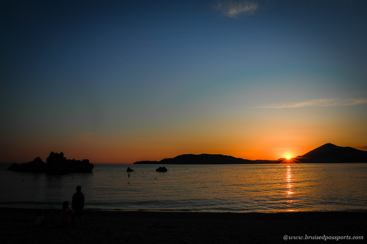 Sunset at Przno beach in Montenegro