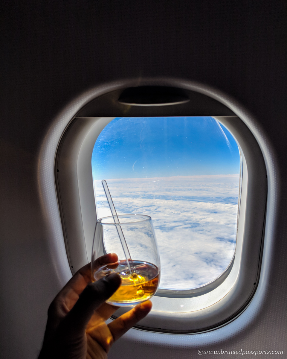 Fiji honeymoon Fijian rum on flight