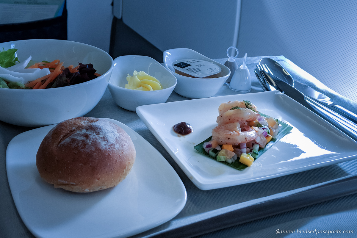 Appetisers on board Fiji Airways' Singapore-Nadi flight