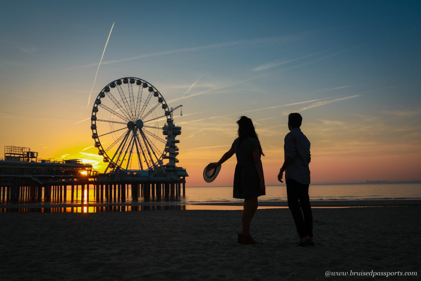 Sunset at the pier near The Hague