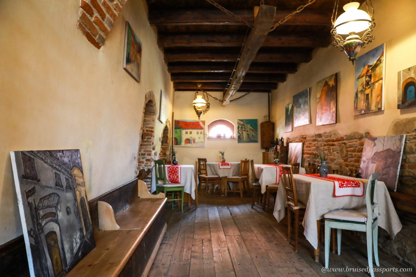 breakfast area at Fronius Residence in Sighisoara Romania
