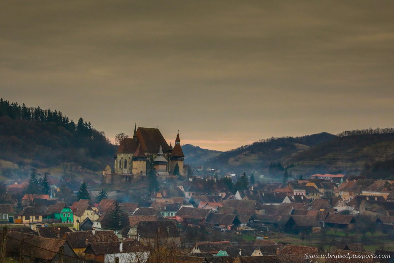 sunset at Biertan near Sighisoara