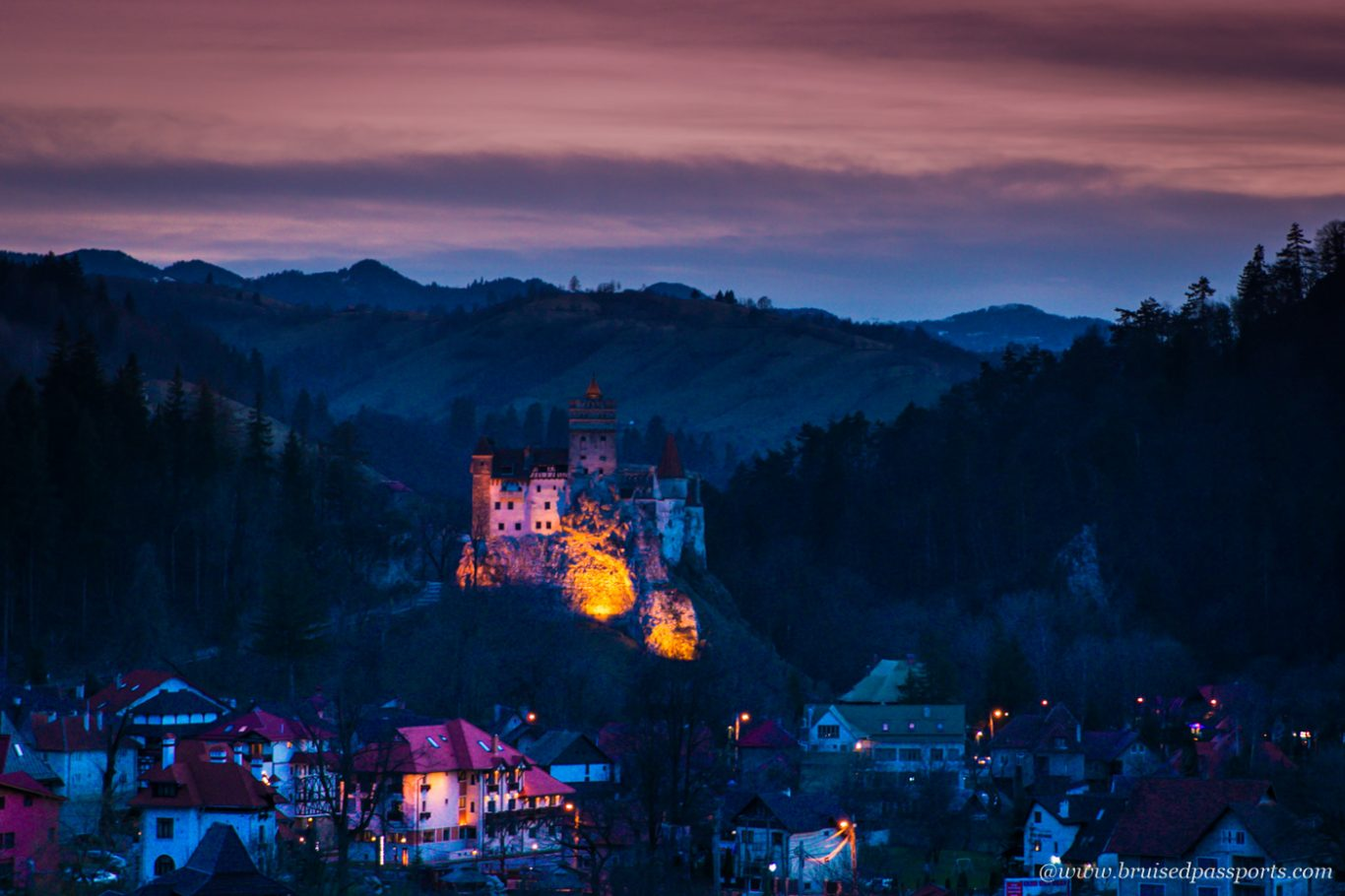 sunset at Bran castle - vantage view from Vila Bran