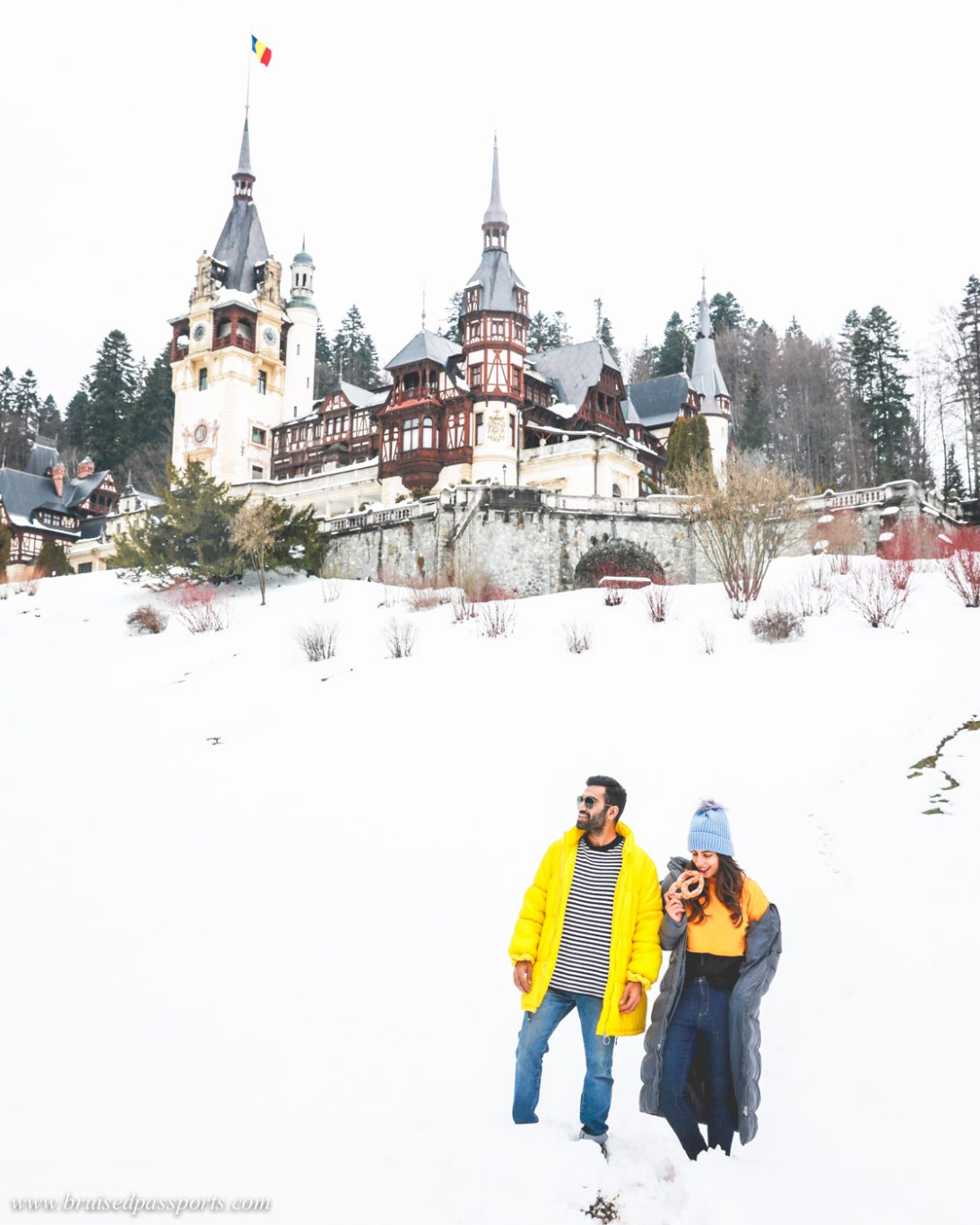Couple at Peles castle in Romania