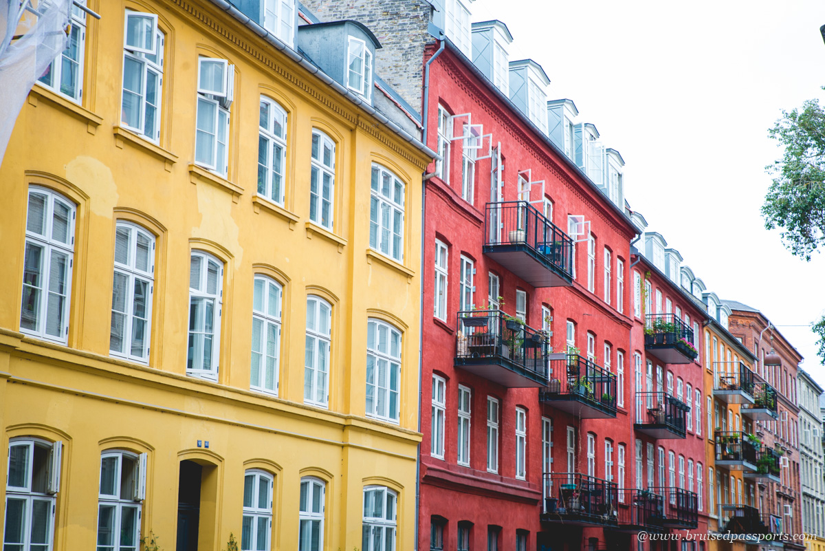 colourful houses in the street of Sankt Hans Gade in Copenhagen
