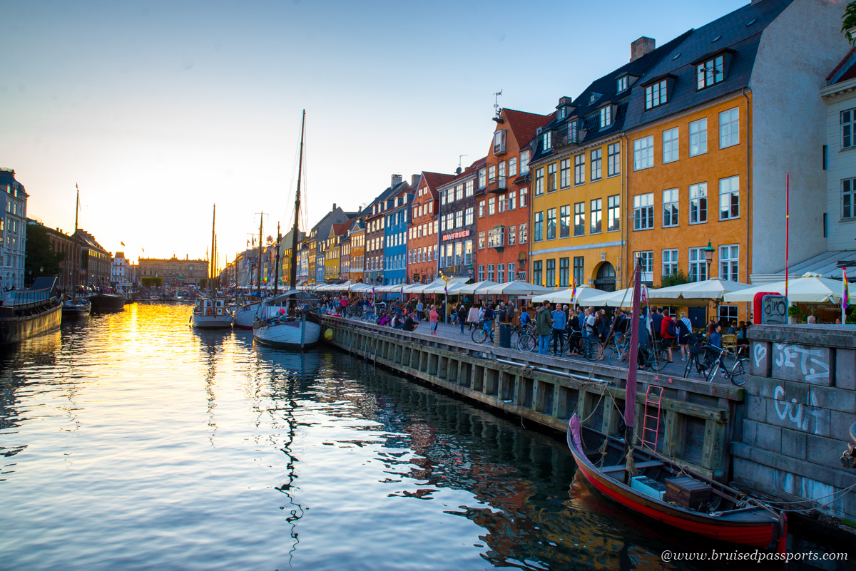 Nyhavn area in Copenhagen at sunset