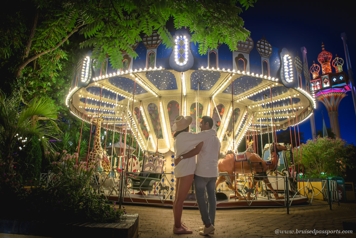 Couple at Tivoli gardens in Copenhagen Denmark