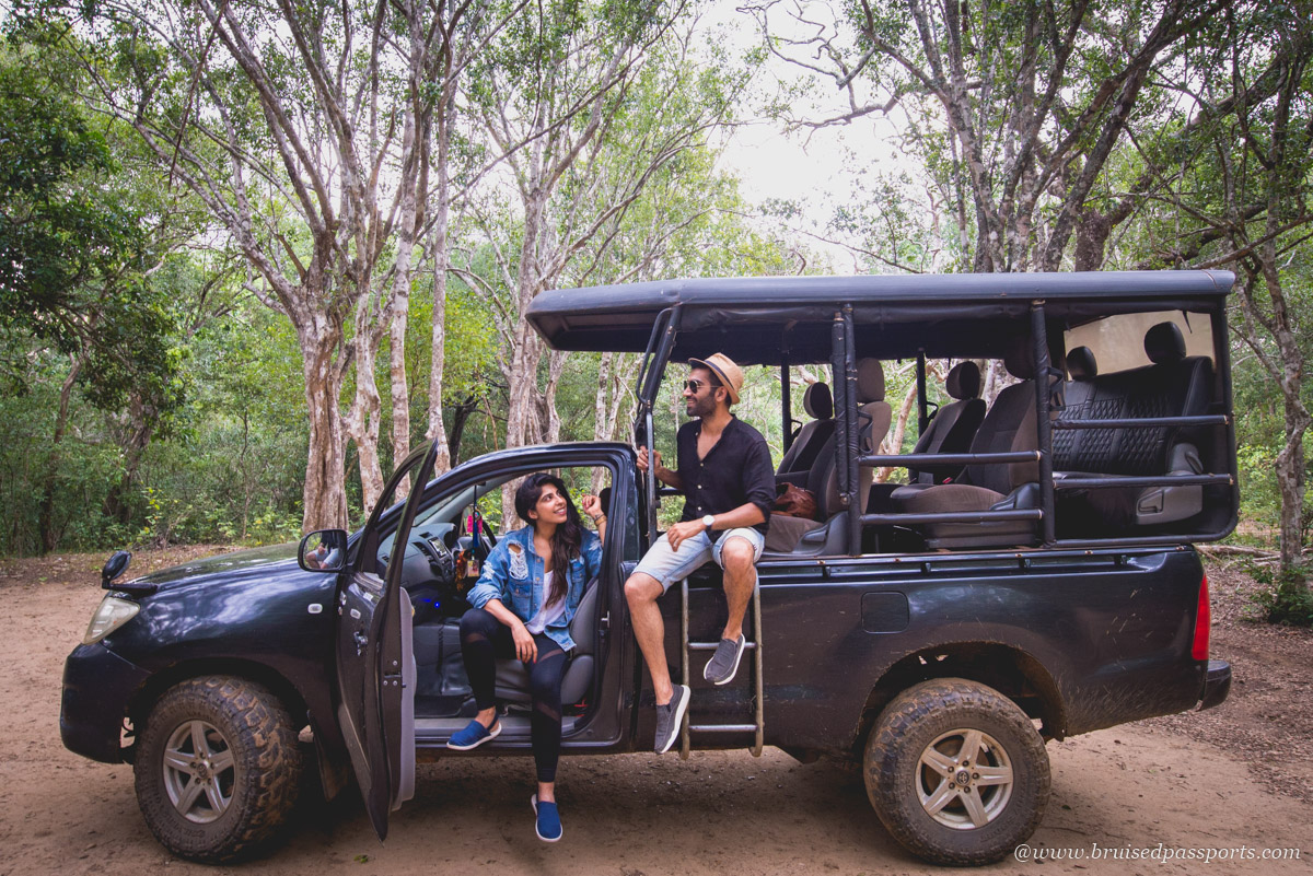 Couple in safari jeep at Yala National Park